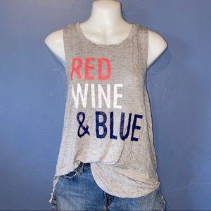 Red Wine & Blue Light Light Gray Flowy Tank Top XS